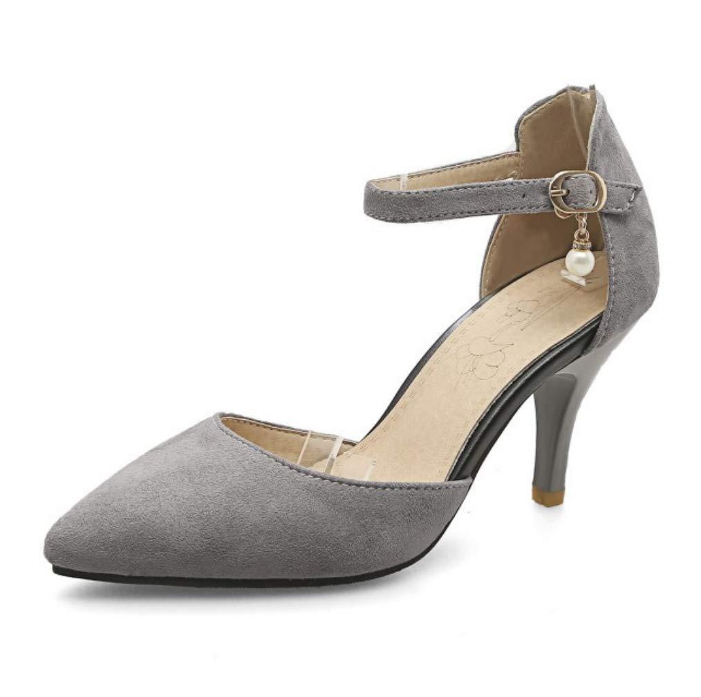 LIANGXIE Frauen Slip auf Pointed Toe Geschosse Pumps Ankle Strap Kitten Heel Party Kleider Pumps Gericht Schuhe Pearl Fringed Sandals Größe