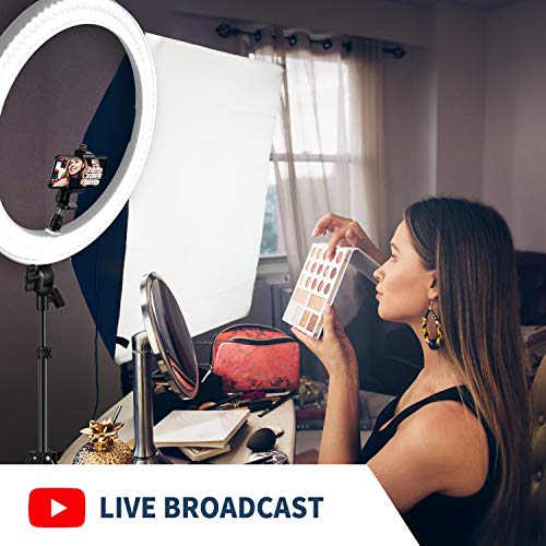 Neewer 20-inch LED Ring Light Kit for Makeup YouTube Video Blogger Salon - Adjustable Color Temperature with Battery or DC Power Option, Battery, Charger, AC Adapter, Phone Clamp and Stand(White)