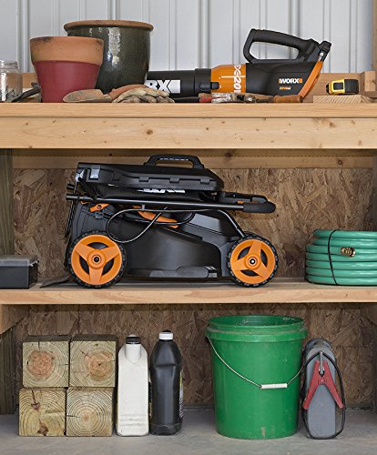 """WORX WG779 40V Power Share 4.0 Ah 14"""" Lawn Mower w/ Mulching & Intellicut (2x20V Batteries) 7 Dual 20V Power Share batteries deliver 40V of Maximum Power and Performance Patented intellicut technology delivers Power on demand save Your battery for when you Really need it Foam padded handles provides a comfortable grip for reduced fatigue while cutting"""