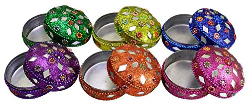 Amazing India Online A Set of 6pcs Rajesthani Decorative Ethnic Glitter Mirror Work Beaded Jewelry Boxes Lac Item Multi 2 inches