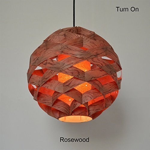 Handmade Weave Ball Hanging 1-Light Pendant Light, made of Rosewood veneer,ceiling fixture,decorative ceiling lamp, design lamp,hanging lamp,dining room, bedroom