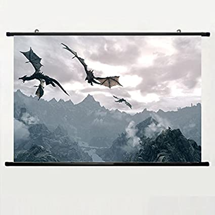 Popular And Unqiue Designed Home Decor Art Game Poster With Elder Scrolls Dragon Skyrim
