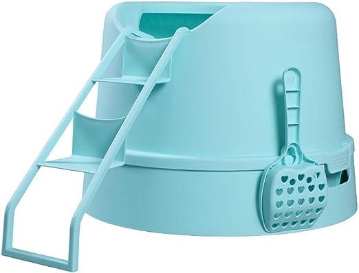 ZCY Semicerrado Cajas De Arena, Grande Espacio Gato Aseo A Prueba De Salpicaduras Jugando Escalera Suministros De Mascotas (Color : Azul): Amazon.es: Productos para mascotas