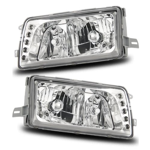 SPPC Headlights 2/4 Door Chrome Assembly Set (Will Fit For 5 Pin Model Only) For Mercedes-Benz S Class W126 - (Pair) Driver Left and Passenger Right Side Replacement Headlamp