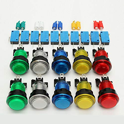(10Pcs LED Illuminated Full Colors Switch buttons For Arcade Parts JAMMA - Arcade Video Games DIY Push Button - 10 x LED Push)