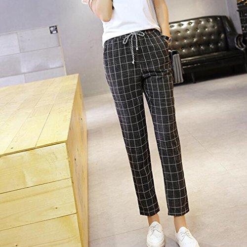 Moyenne lastique Confortable Carreaux Harem Casual Pantalons Fit Femme Longs Grande Pantalon Taille Loose Taille Noir Taille Mode Pantalons Leggings gnnqfp57