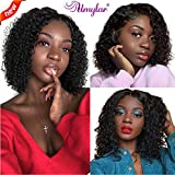 Umylar 13x4 Curly Lace Front Wigs Human Hair Pre Plucked with Baby Hair Short Curly Bob Wig for Black Women 150% Density Brazilian Human Hair Wigs (16 Inch)