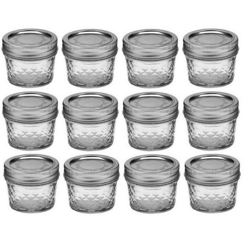 6c6964aedd08 Ball Mason 4oz Quilted Jelly Jars with Lids and Bands, Set of 12