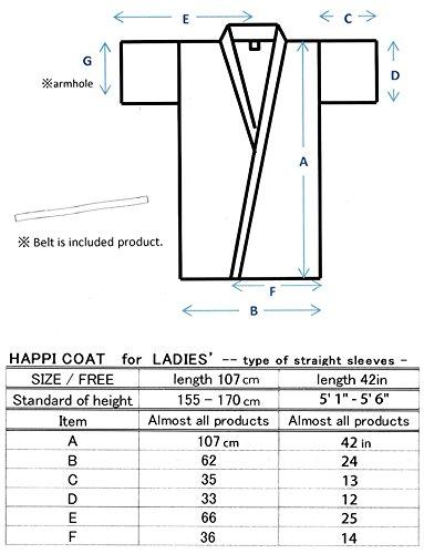 Japanese Women's Kimono Robe Happi Coat Dress Cotton Bird Plum Black by Kimono Japan (Image #6)