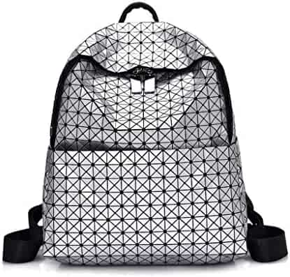 9829c17bd39b ZYqi Fashion Casual Backpack Korean Fashion Geometry Sewing Backpack  College Student Bag (Color   Silver