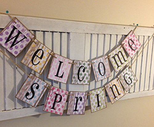 welcome-spring-banner-bunting-garland-sign-distressed-shabby-chic-home-decoration-rustic-barn-siding
