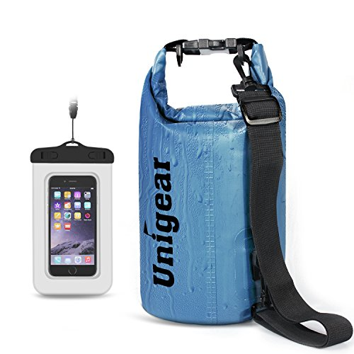 5L/10L/20L/30L/40L 600D Dry Bag Sack, Waterproof Floating Dry Gear Bags for Boating, Kayaking, Fishing, Rafting, Swimming and Camping with Waterproof Phone Case(20L,Sky blue)