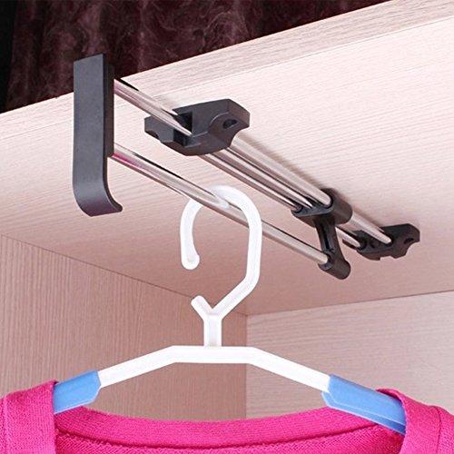 zjchao heavy duty retractable closet pull out rod wardrobe. Black Bedroom Furniture Sets. Home Design Ideas