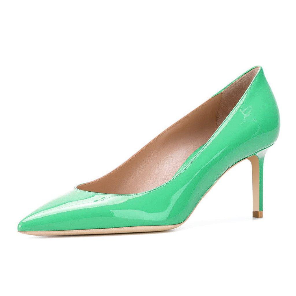 XYD Womens Elegant Patent High Heel Pumps Pointed Toe Slip On Evening Party Dress Shoes B07411X7RT 14 B(M) US|Green