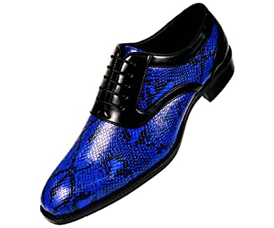 Amazon.com | Bolano Mens Exotic Snake Printed Plain Toe Oxford ...