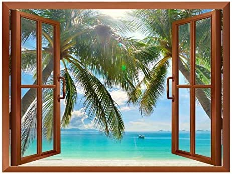 Palm Trees on Tropical Beach Removable Wall Sticker/Wall Mural - 36