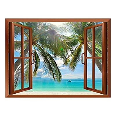 Palm Trees on Tropical Beach Removable Wall Sticker Wall Mural 36