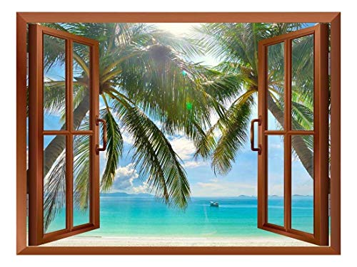Palm Trees on Tropical Beach Removable Wall Sticker Wall Mural