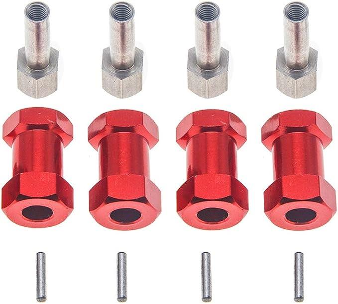 4X 12mm Aluminium Rad Hex Hub mit Pins Schrauben für 1//10 HSP RC Auto Upgrades