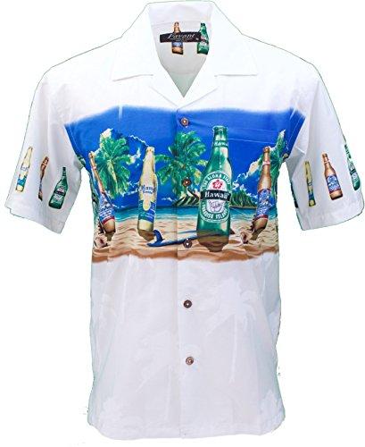 Men's Hawaiian Aloha Tropical Luau Beach Novelty Beer Bottle Print Shirt (XX-Large, White) ()