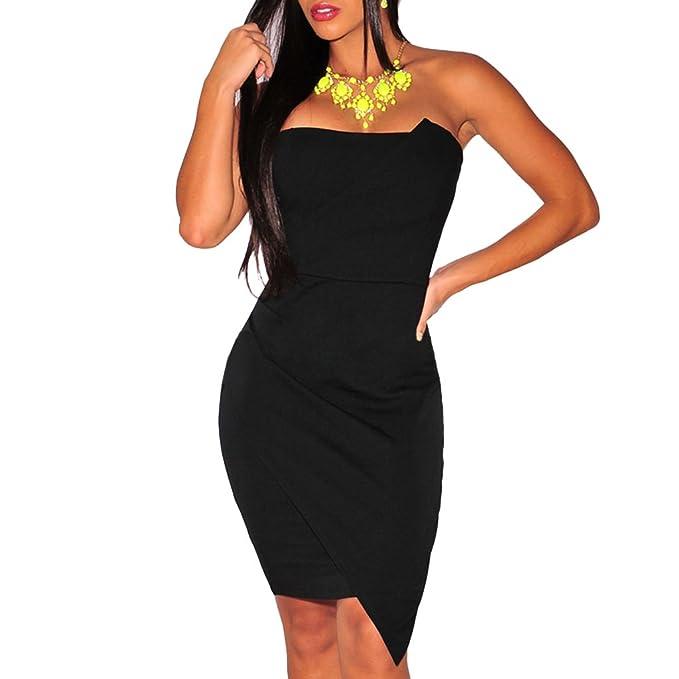 7625e50c69 mywy - Abito donna tubino nero miniabito festa fascia vestito sera ...