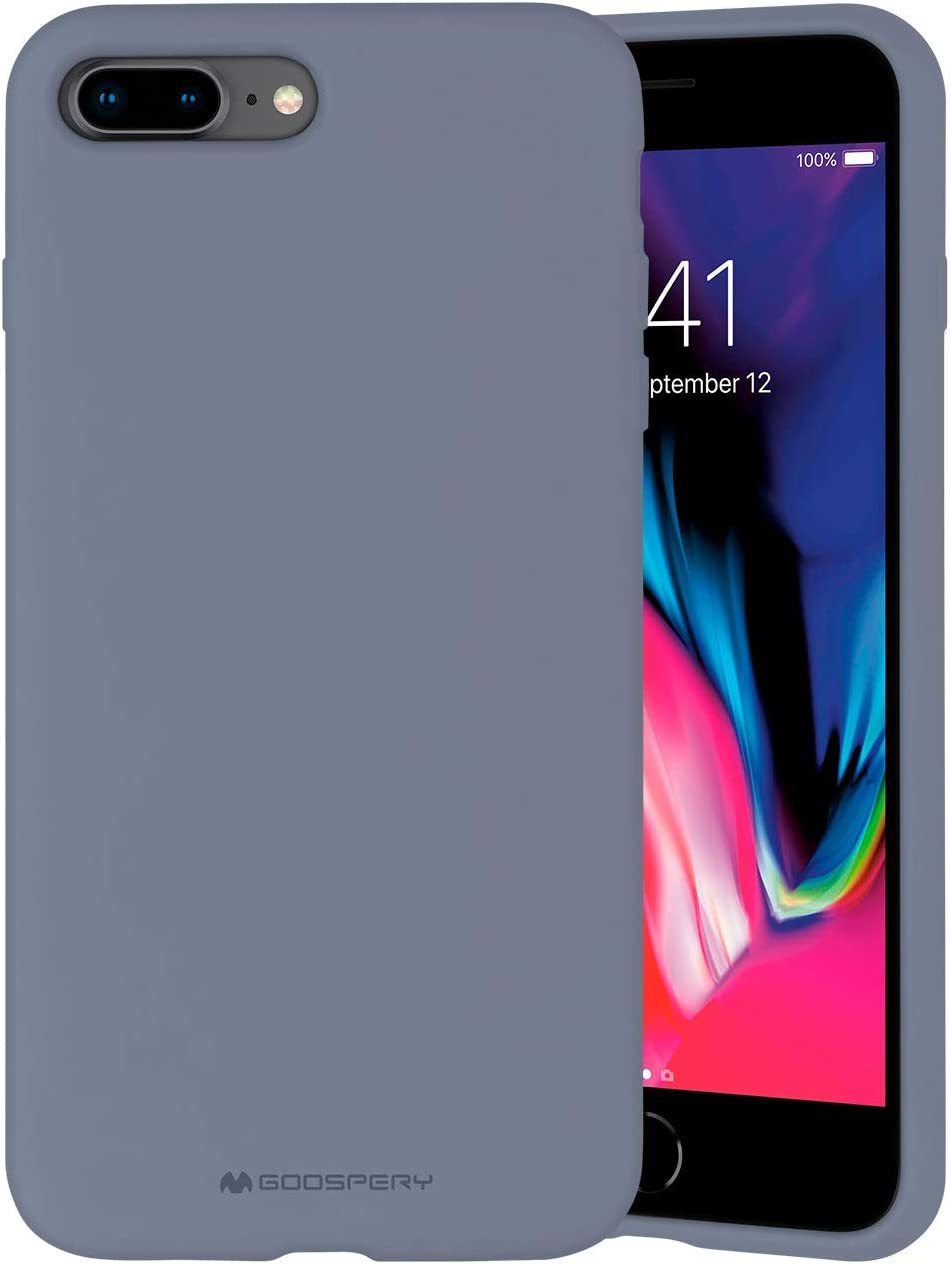 Goospery Liquid Silicone Case for Apple iPhone 8 Plus & iPhone 7 Plus (5.5 Inch) Jelly Rubber Bumper Case with Soft Microfiber Lining (Lavender Gray) IP8P-SLC-LGRY