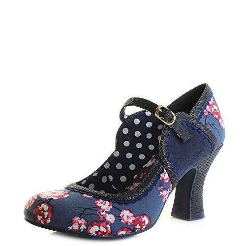 Ruby Shoo Ladies Rosalind Blue Vintage Inspired Vegan Friendly Shoes -UK 8 (EU 41)