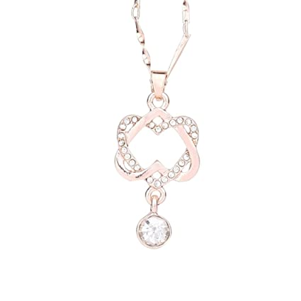 Fashion Necklace Women Charms Double Heart Pendant Jewelry Gifts Chain Silver