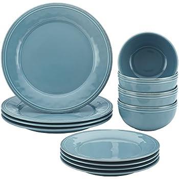 Rachael Ray Cucina 12-Piece Stoneware Dinnerware Set Agave Blue Plates Bowls  sc 1 st  Amazon.com & Amazon.com   Rachael Ray Cucina 12-Piece Stoneware Dinnerware Set ...