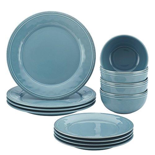Rachael Ray Cucina 12-Piece Stoneware Dinnerware Set, Agave Blue Plates - Stoneware 12