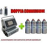 STUFA STUFETTA A GAS PORTATILE DOPPIO ATTACCO GPL/BUTANO + OMAGGIO 4 CARTUCCE