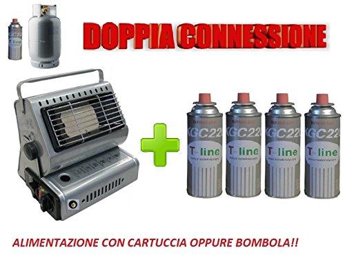 Estufa de gas portátil con doble quemador para GLP/butano + 4 cartuchos de regalo: Amazon.es: Grandes electrodomésticos