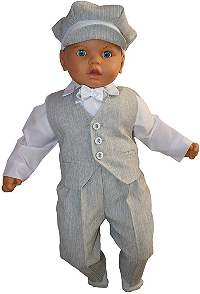 5tlg Grau-Wei/ß Festanzug Jungenanzug Taufanzug Baby Junge Kinder Kind Taufe Anzug Hochzeit Anz/üge