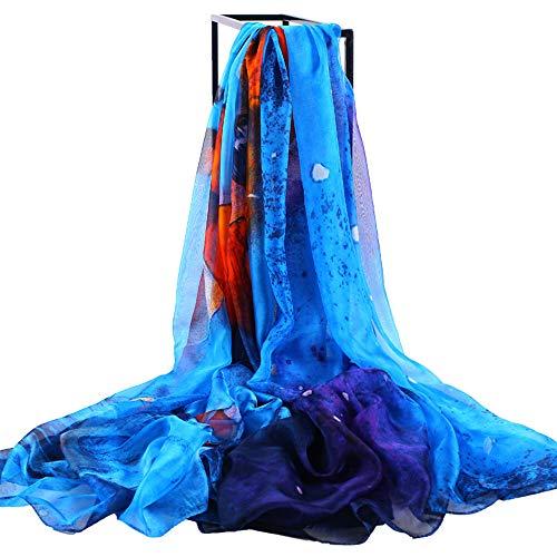 Silk Like Scarf Large Chiffon Headscarf Deer Pattern Wrap Neck Scarves for Women 78