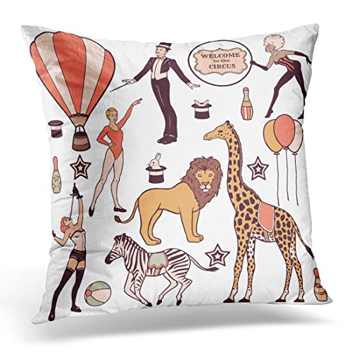 Emvency Throw Pillow Cover Lion of Various Circus