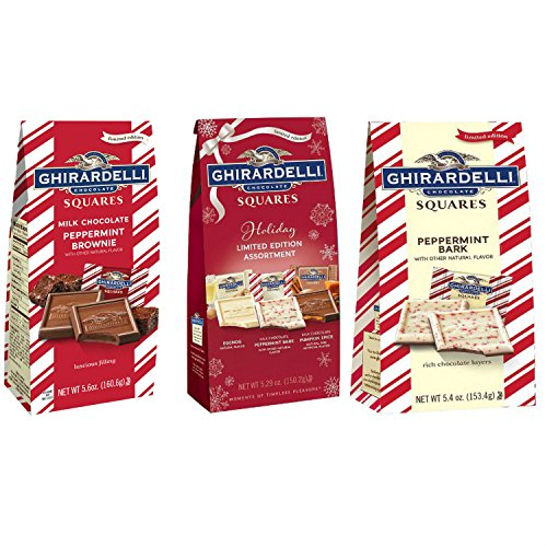 - Ghirardelli Chocolate Squares Holiday Assortment Bundle - Includes: Holiday Limited Edition Assortment (5.29 oz.), Milk Chocolate Peppermint Brownie (5.6 oz.), Peppermint Bark (5.4 oz.)