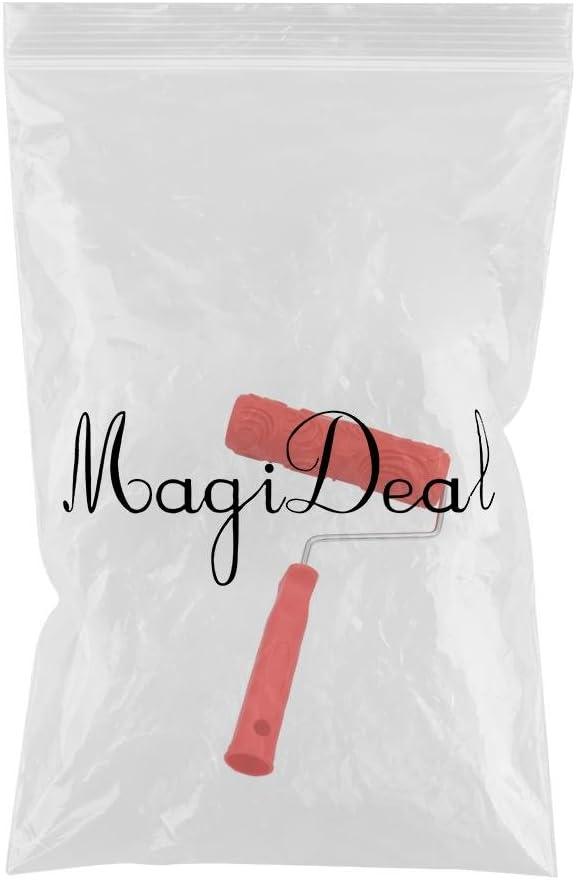 #6 MagiDeal Rouleau De Peinture Motif Gaufr/é Assorti De 7 Pouces Avec Poign/ée En Plastique
