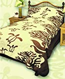 King Hawaiian Quilt bedding Comforter with two pillow shams (Honu Sea Turtle) (Koa Brown)