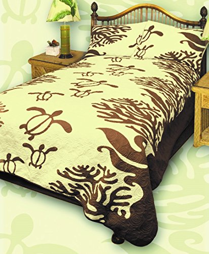 King Hawaiian Quilt bedding Comforter with two pillow shams (Honu Sea Turtle) (Koa Brown) by Kauhale Living
