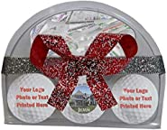 3 Custom ProV1 Golf Balls and 20 Tees Now in Christmas Ribbon Packaging