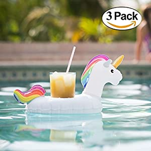 Inflatable Drink Holder Unicorn Drink Floats 3 Pack - Float in style, as a herd of floating unicorns carries your beverage for you.These cup holders floaties are perfect for the pool, hot tub or beach