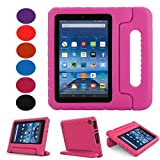Fire 7 2015 Case-Lumcrissy Shockproof Case Light Weight Kids Super Protection Cover Handle Stand For Amazon Kindle Fire 7 inch Tablet (5th Generation-2015 Release Only) (Rose)