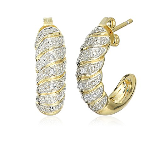 Two-Tone Diamond Accent Half Hoop Earrings (Two Hoop Tone Half)