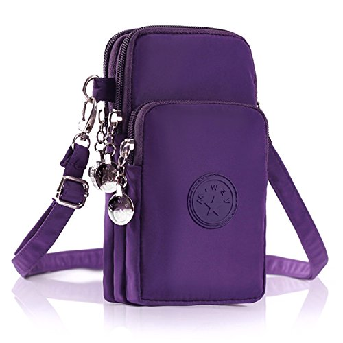 M.Way Multinational Outdoor Sports 3 Layers Storage Zipper Waterproof Nylon Crossbody Wrist Shoulder Bag Cell Phone Pouch Handbag Armband Case For iPhone6/7 Samsung S5 S6 S7 Under 5.5'' Purple