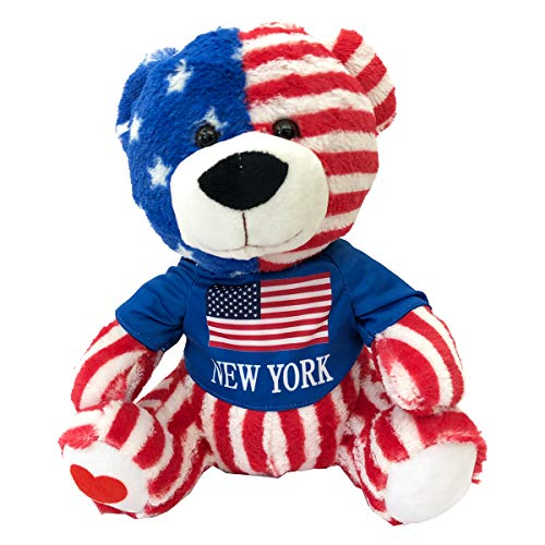 CityDreamShop New York Flag Cute Teddy Bear Souvenir Gift Collection (Multicolor)