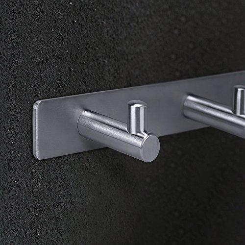 HOMEIDEAS Coat Hook Rack Wall Mounted 11-Inch SUS304 Stainless Steel Brushed Nickel Towel and Key Hook Rail 4 Hooks
