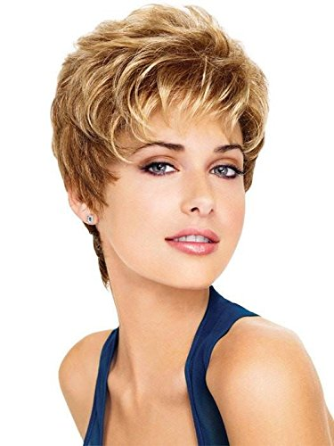 Aspire Average Cap Wig  Color G101+ Platinum Mist - Gabor Wigs Women's Short Boy Cut Synthetic Loose Layers Curls Capless Comfort Fit by Gabor