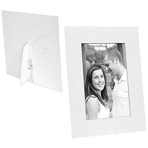 White Paper Cardstock Photo Easel 4x6 Frame w/plain border sold in 25s - 4x6 by SendAFrame