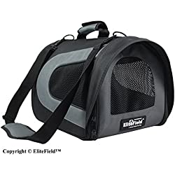 "EliteField Deluxe Soft Pet Carrier (3 Year Warranty, Airline Approved), Multiple Sizes and Colors Available (20"" L x 11"" W x 11"" H, Black+Gray)"