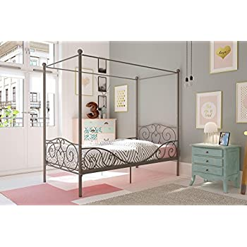 dhp canopy bed with sturdy bed frame metal twin size pewter kitchen dining. Black Bedroom Furniture Sets. Home Design Ideas